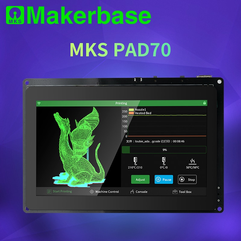 Makerbase-شاشة MKS Pad7 الذكية ، شاشة سعوية 7.0 بوصة ، Android Pad ، أجزاء طابعة ثلاثية الأبعاد ، صورة gcode ، شريحة عبر الإنترنت ، طباعة عن بعد