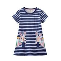 lucashy new summer baby girs short sleeves clothes cotton striped design cartoon zebra print dress children outfit dress 2021