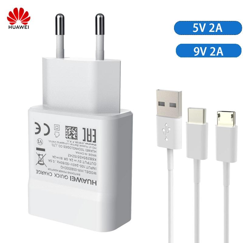 Original Huawei Fast Charger Adapter 5V 9V 2A Micro Type-C Cable For Huawei P8 P9 Plus Lite Honor 8 9 Mate 8 10 Nova 2 2i 3 3i