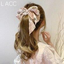 Horquilla floral con lazo grande para el cabello, accesorios para el cabello, clip superior de primavera y verano