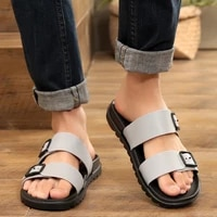 mens slippers summer wear slippers fashion trend one word slippers non slip thick soled sandals beach vacation beach shoes