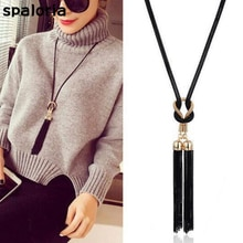 Spaloria Ethnic Boho Handmade Knot Black Tassel Pendant Necklace For Women Long Sweater Chain Statement Necklace Fashion Jewelry