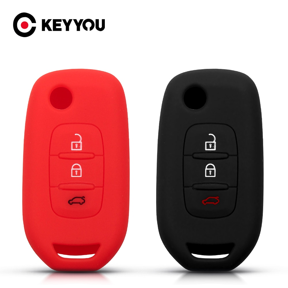 KEYYOU funda de silicona para la llave del coche para Renault Kadjar Captur símbolo Koleos Megane 2016 de 2017 de 2018 Flip remoto sin llave 3 botones