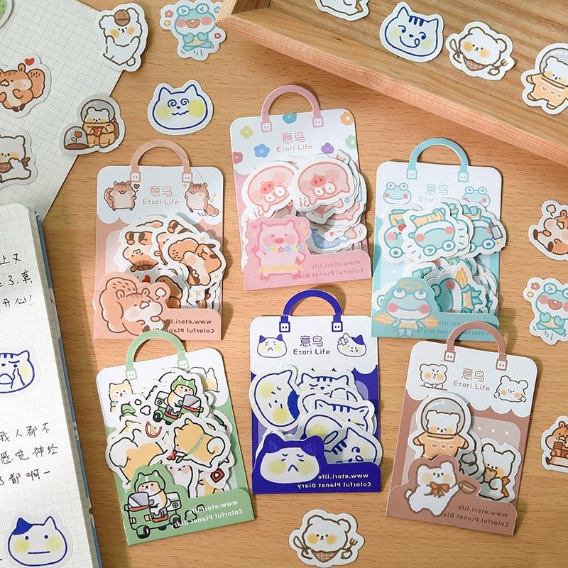 40pcs/lot Cute Animal Paper  Cat Stickers Calendar Diary Journaling Stationery