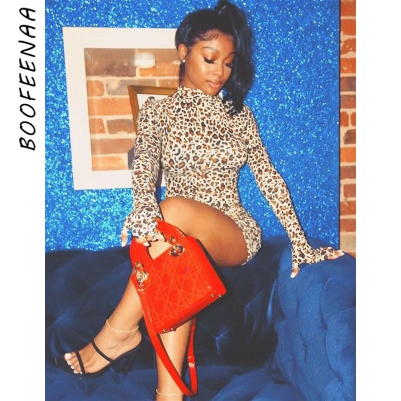 BOOFEENAA guante estampado Cheetah manga larga Bodycon Mini vestido Vintage Sexy vestidos de noche para discoteca primavera 2020 C66-AZ57