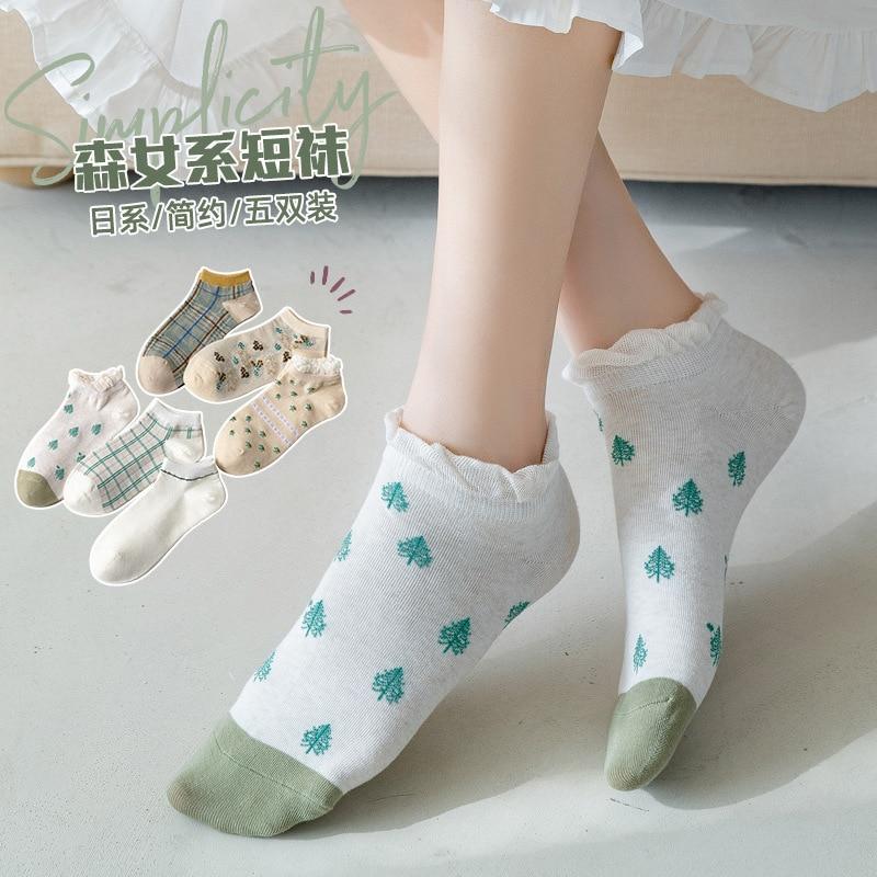 Calze da donna primavera ed estate nuovo prodotto cotone giapponese e coreano piccola serie foresta fresca ragazza calzini corti femminili