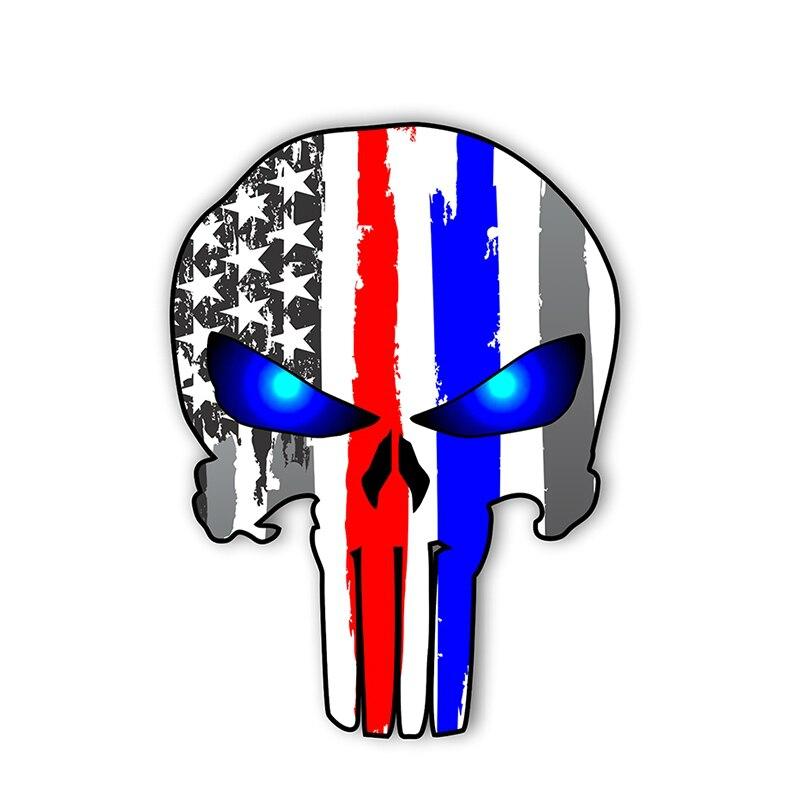 Adhesivo para coche de PLAY COOL, pegatina de PVC con diseño de calavera de Punisher, fina línea roja y azul, bandera realista estadounidense, autoadhesivo para Moto Exterior