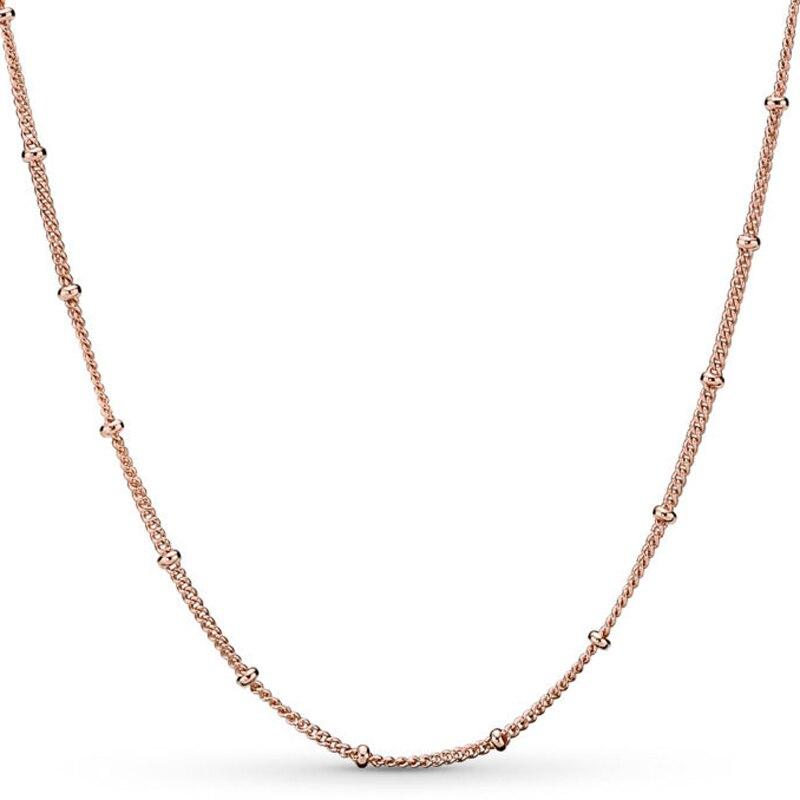 Nuevo collar de plata de ley 925, cadena de cuentas de oro rosa, collar básico para el encanto de cuentas de las mujeres, regalo de boda, joyería DIY de Europa