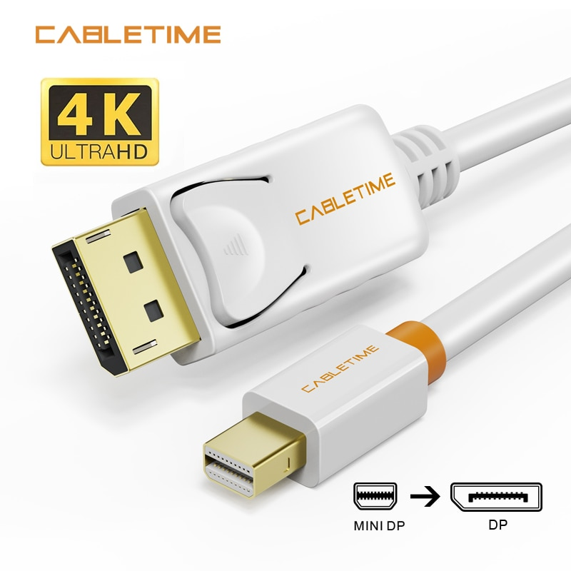 1 8m 6ft golden plated thunderbolt displayport mini display port dp to hdmi male adapter cable for apple macbook mac air pro Cabletime Mini Display Port to Display Port Cable mini dp to dp Thunderbolt to DP 4K Cable For Macbook Surface Pro N024
