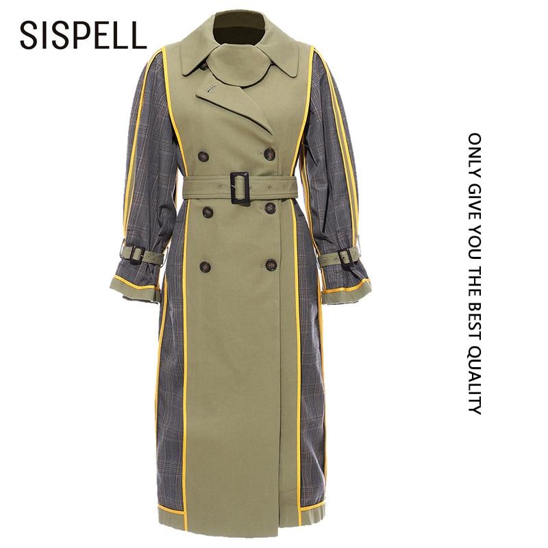 SISPLL ضرب اللون المرأة سترة واقية سترة التلبيب طوق طويلة الأكمام خليط منقوشة للإناث معاطف الخريف المد الموضة 2020