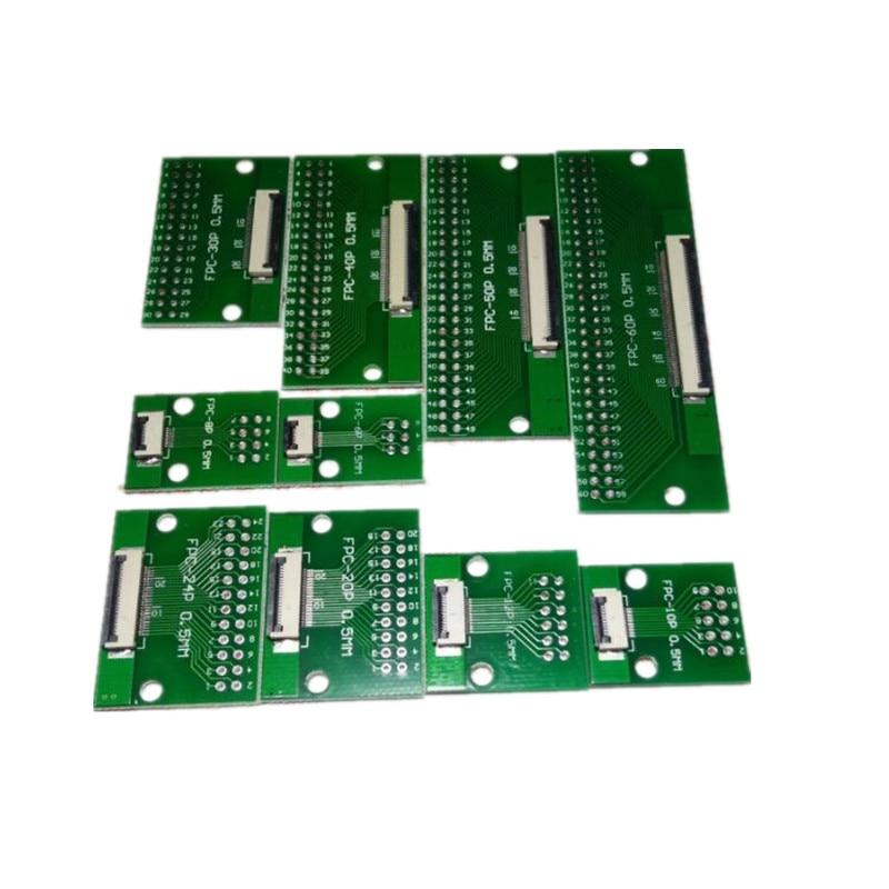 1 pces 0.5mm fpc ffc cabo conector 6 8 10 12 14 20 30 40 pinos smt adaptador para 2.54mm passo através do furo dip pcb
