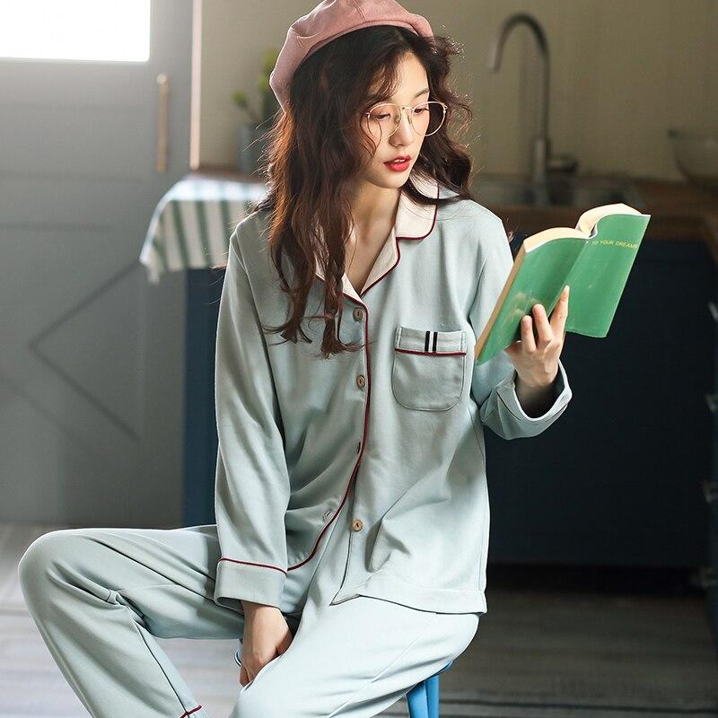 Conjunto de pijamas de manga larga de algodón para mujer de otoño e invierno, conjunto de pijama holgado de ocio para mujer adulta, Conjunto de pijama para madre