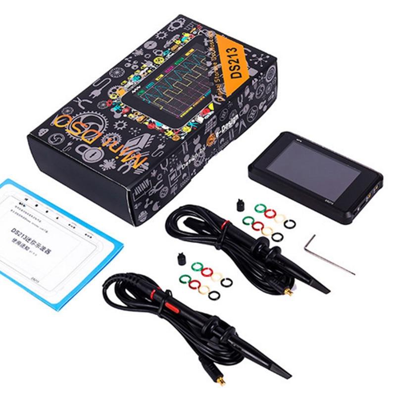 DS213 صغير ملتقط الذبذبات الرقمي شاشة الكريستال السائل المحمولة 4 قناة 15MHz 100 عينات عملاقة/ثانية USB Oscilloscope io جيب الحجم كاشف ذبذبة تخزيني