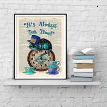 Son toujours thé temps dictionnaire Art peinture Alice au pays des merveilles chat décoration de la maison affiches et impressions peinture sur toile