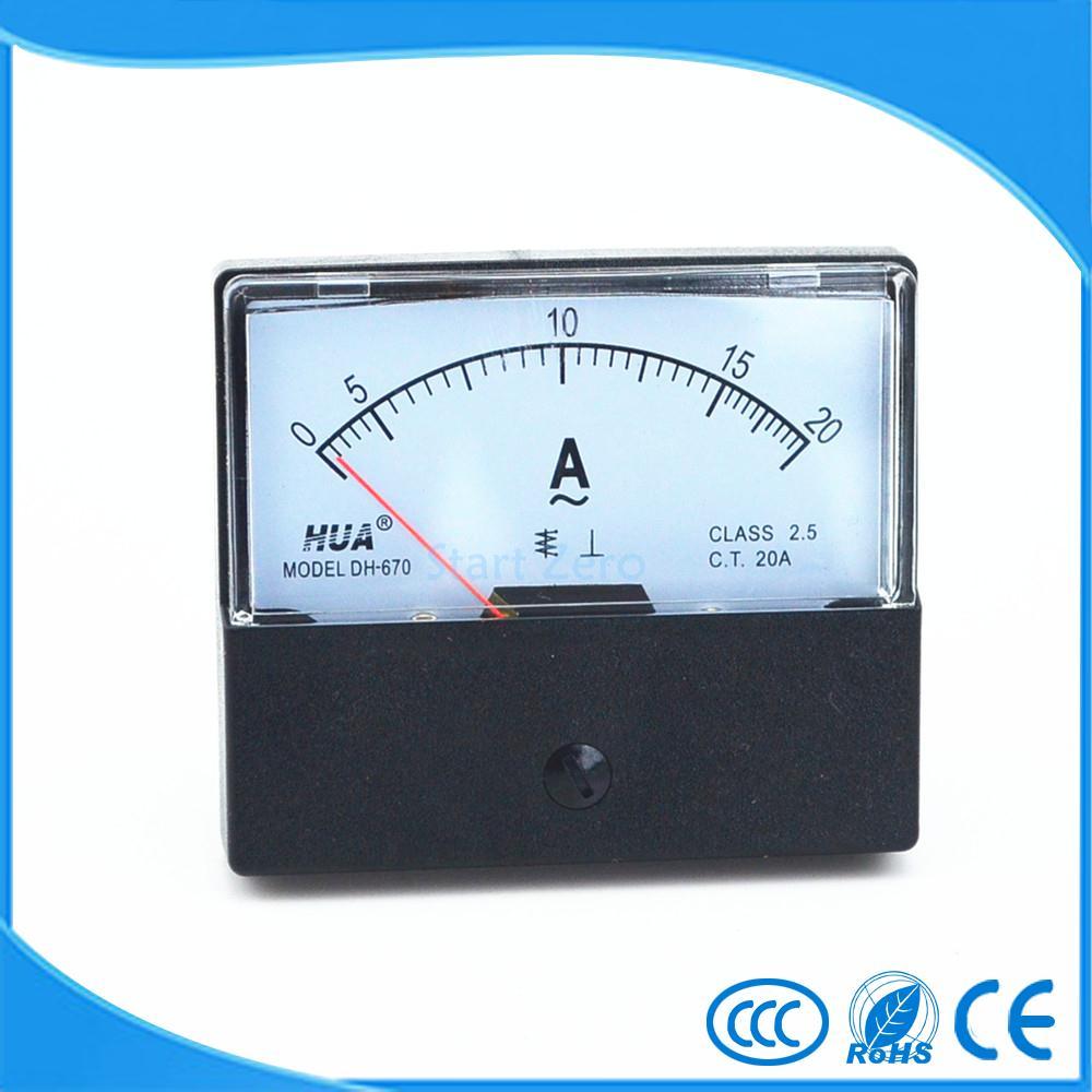 AC 0-20A Analoge Panel Meter Ampèremeter Gauge DH-670