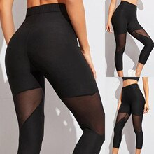 Women's Mesh Stitched Capris Sports Stretch Pants Running High Waist Leggings Sport  Elastic Trouser