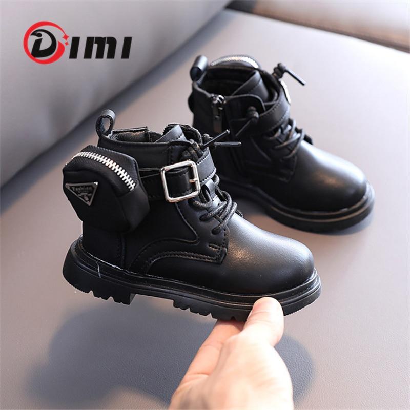 DIMI Autumn/Winter Children Shoes Micrafiber Leather Boy Girl Martin Boots Fashion Soft Comfortable Non-Slip Balck Toddler Boots