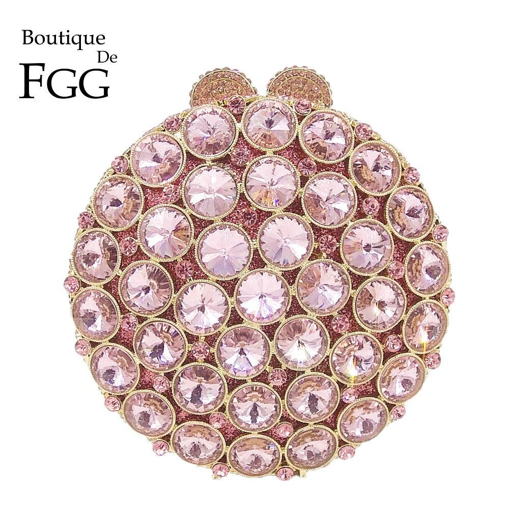 Boutique De FGG social alite-حقيبة يد نسائية من الكريستال الوردي ، حقيبة يد مخرمة من الكريستال ، للحفلات ، والزفاف ، والحفلات الراقصة