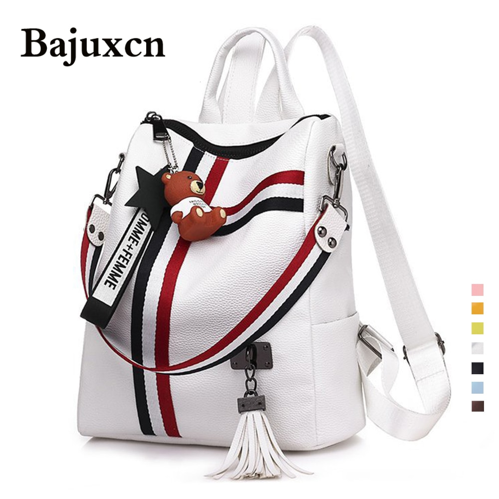 Luxury Female backpacks High Quality Leather tassel Backpack for  girls Ribbon School Bags large Shoulder bag 8 colorsTravel bag