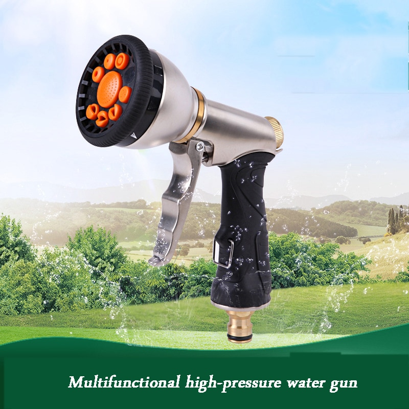 Nueva boquilla de riego para jardín boquilla de manguera boquilla de Metal ajustable pistola de agua césped multifunción rociador de alta presión para jardín