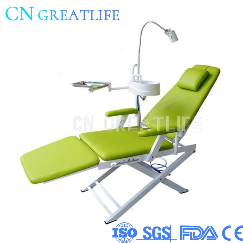 طوي المحمولة للطي كرسي المرضى الأسنان مع مصباح تشغيل Spittoon المصباح وصينية