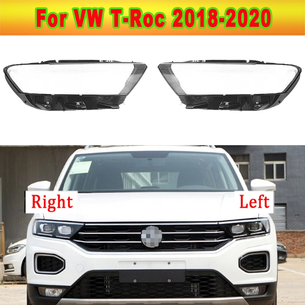 Auto Transparent Headlamp Cover Glass Lens Shell Car Front Headlight Cover Light Caps For Volkswagen VW T-Roc 2018-2020