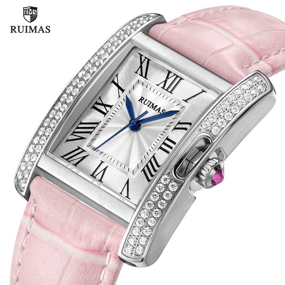 RUIMAS Automatic Watches Women Luxury Leather Strap Mechanical Wristwatch Lady Female Vintage Square Watch Relogio Feminino 6773 enlarge