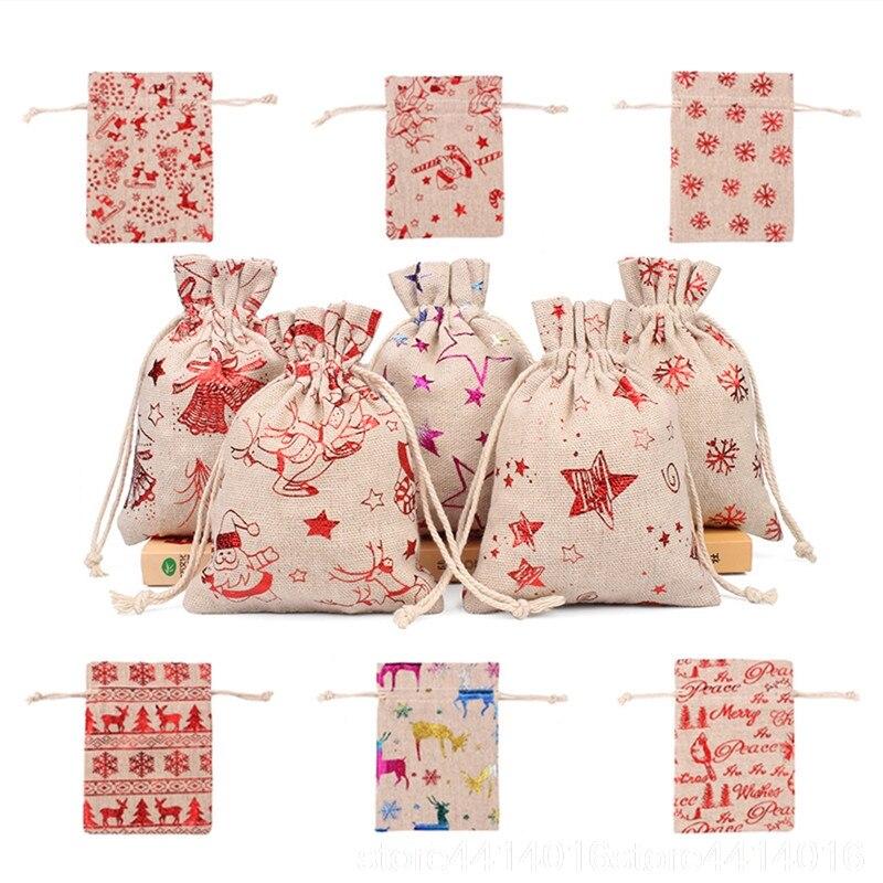 10 pçs 10x14 13x18cm impressão a cores elk serapilheira saco presente de natal saco de jóias festa de casamento decoração saquinho