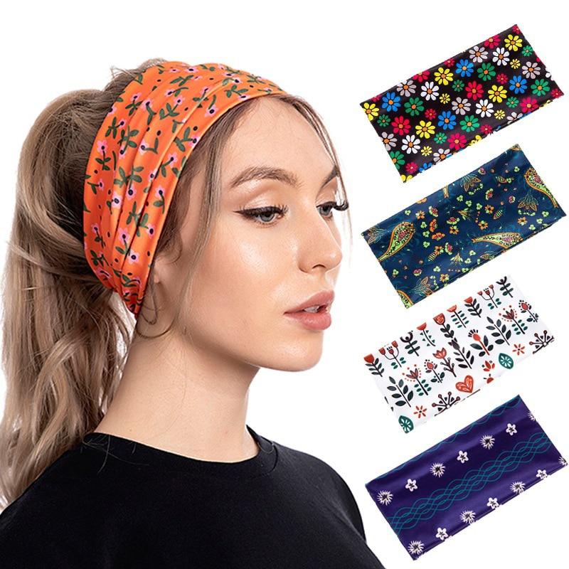 Novelty Print Headband for Women Cotton Outdoor Sport Hairband Stretchy Wide Headbands Painting Hair Accessories Elastic Turban elastic lacework wide sport headband