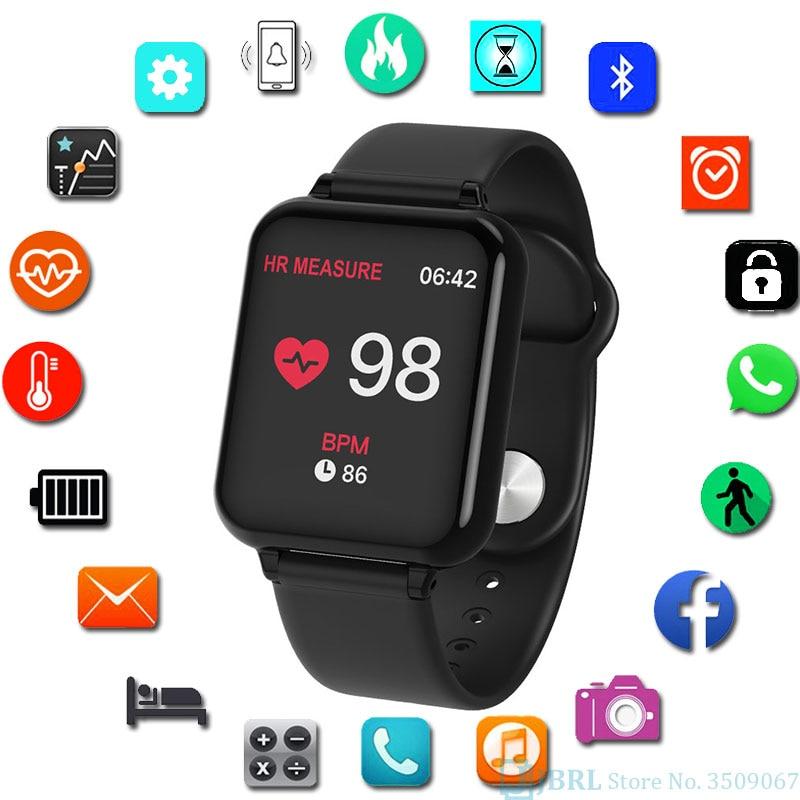 B57c montre intelligente hommes femmes Smartwatch pour Android IOS électronique horloge intelligente Fitness Tracker bracelet en Silicone montre intelligente heures