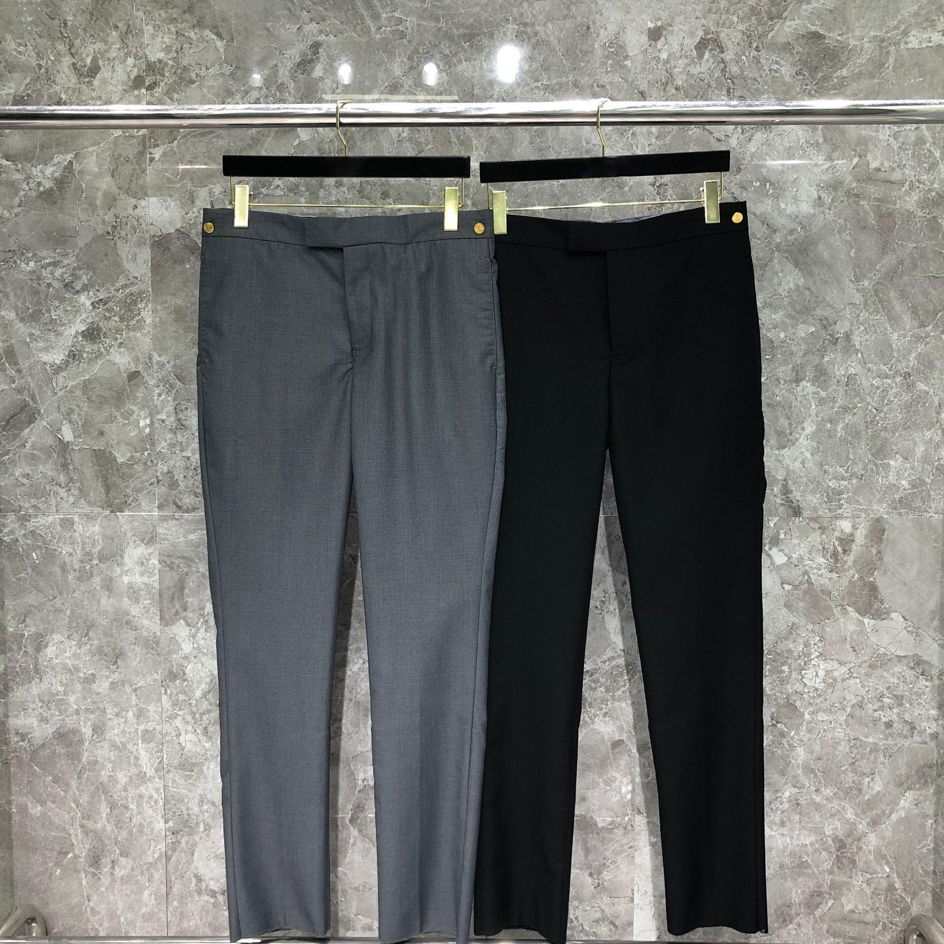 2022 موضة TB THOM ماركة السراويل الرجال الصلبة رداء غير رسمية السراويل الأعمال فستان طويل السراويل الذكية القطن عادية الرجال السراويل الرسمية