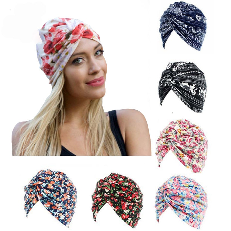 Bandanas Women Flower Printing Chemo Cap Turban Autumn Winter Cross Elastic Headbands Hair Bands Head Cap Hair Accessories