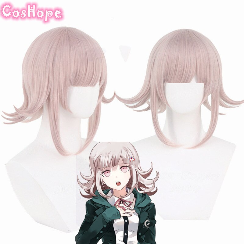 Chiaki Nanami Cosplay Danganronpa Cosplay mujeres peluca corta rosa Cosplay Anime Cosplay pelucas sintéticas resistentes al calor