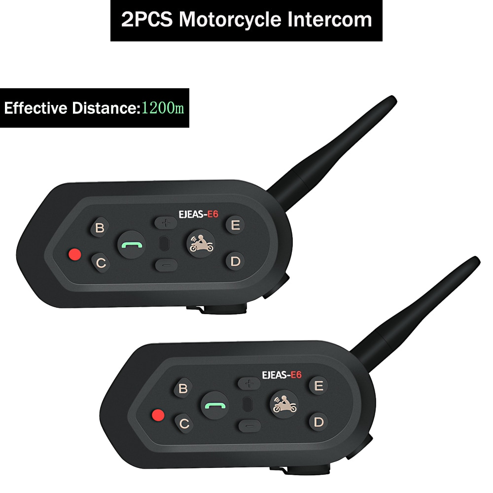 2 pçs da motocicleta interfone multifunction vox aux gps interfone interfone para 6 pilotos 1200m faixa de moto capacete fone ouvido bluetooth