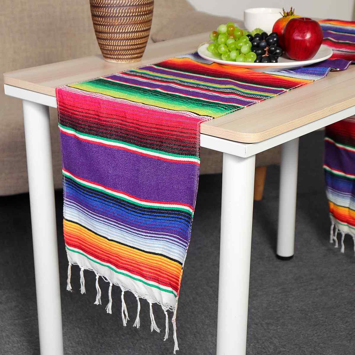 5PCS 코 튼 멕시코 테이블 러너 3 색 213X35cm 레인 보우 DIY 웨딩 파티 테이블 러너 파티 Serape 식탁보 홈 장식