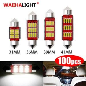 100PCS Festoon Canbus 31mm 36mm 39mm 42mm LED Bulb C5W C10W Super Bright 4014 SMD Auto Interior Doom Lamp Car Reading Lights