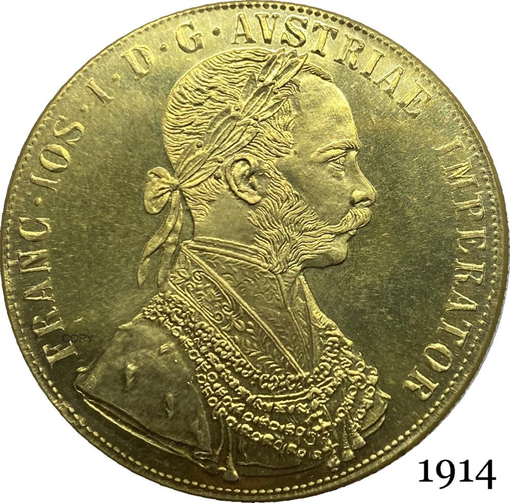 Austria habsburg 1914 4 ducados franz joseph i imperador austríaco duplo headed austro águia húngara com coroa moeda de cópia de ouro