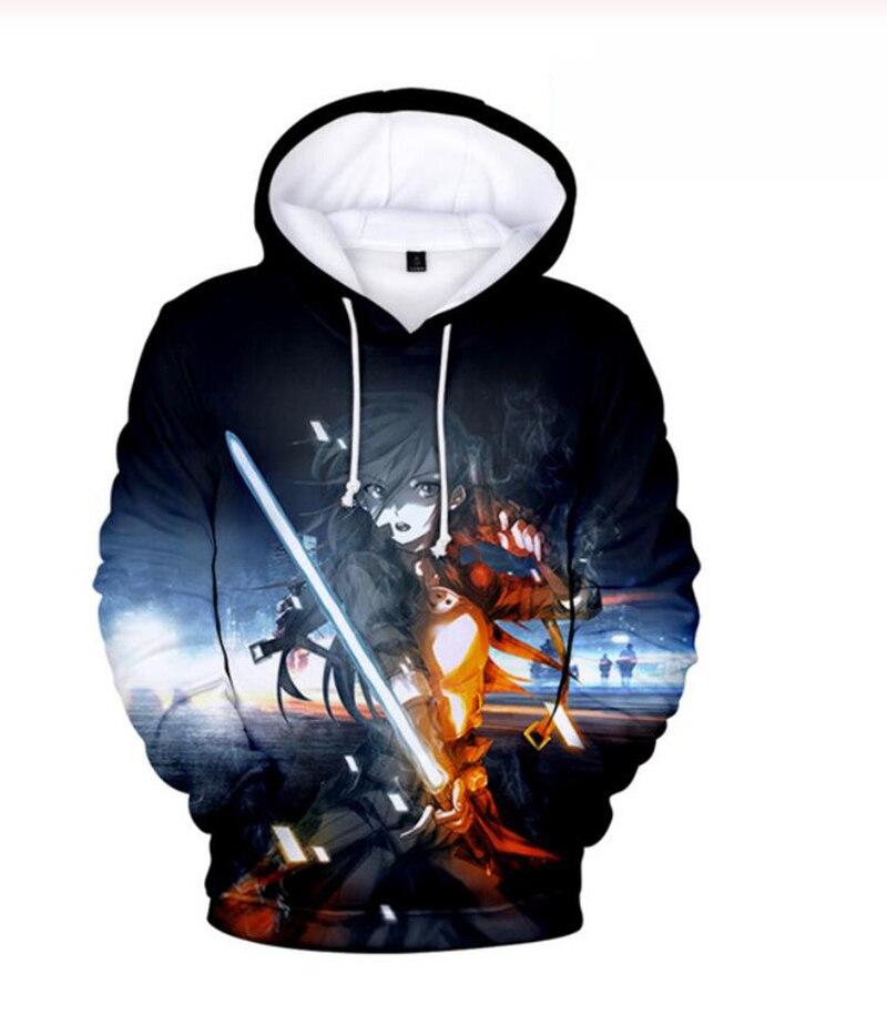 Sword arte em linha 3d hoodie moletom casual anime impressão da espada arte em linha 3d hoodies moletom com capuz venda quente
