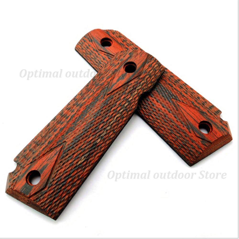 TOtrait 2 pcs Tactical pistol 1911 Wood grips High Polished Wood Grips custom CNC Material 1911 accessories