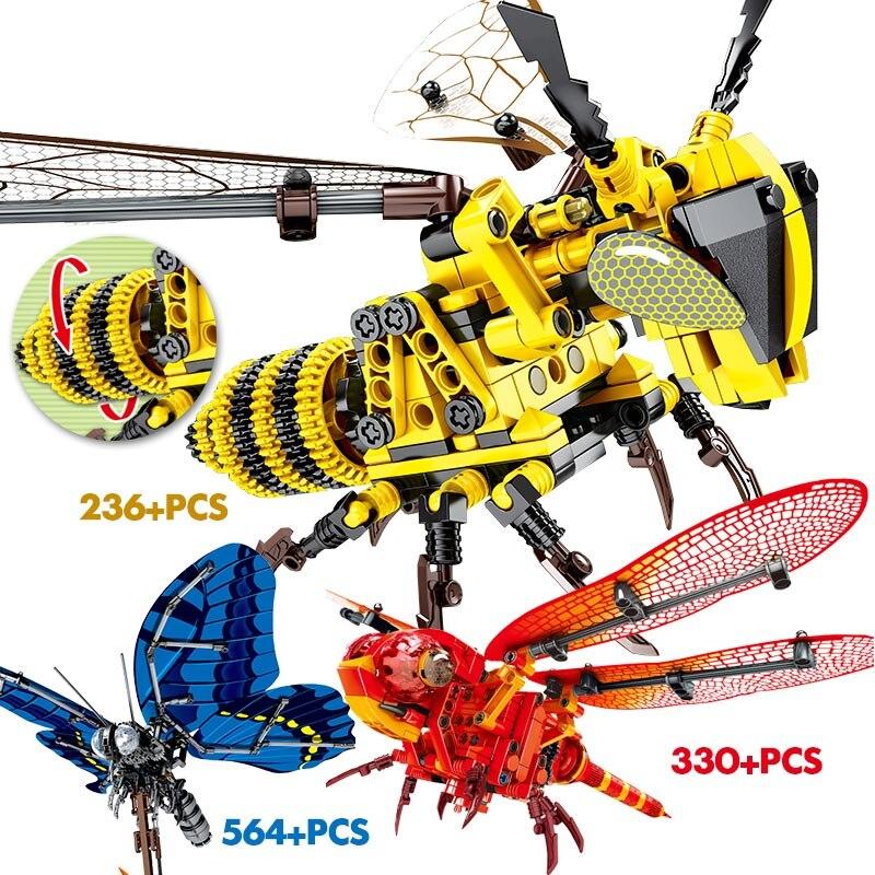 Creador de insectos simulados mariposa técnica abeja libélula roja modelo bloques de construcción DIY juguetes de Ladrillos educativos para niños