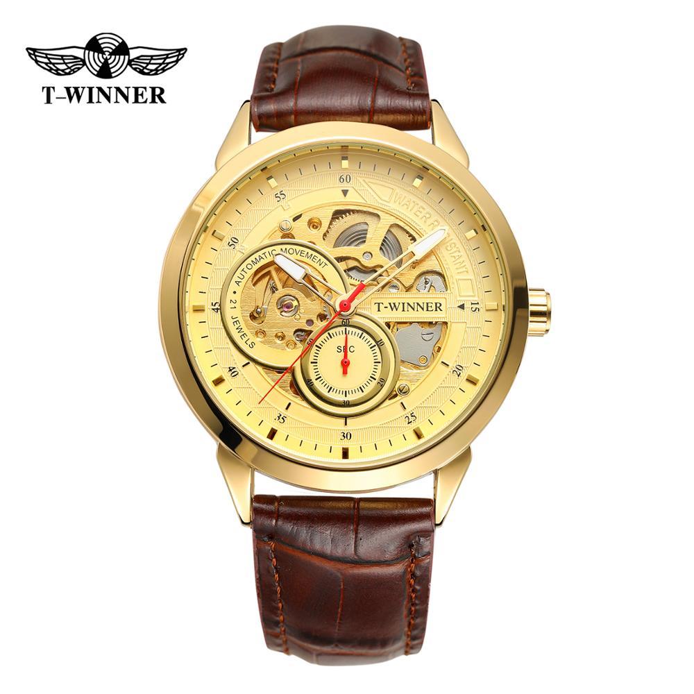 Relógios de Pulso para Homem Relógio de Pulso com Pulseira de Couro Vencedor Luxo Slef-winding Mecânico Novo Steampunk Genuíno Original Suíço