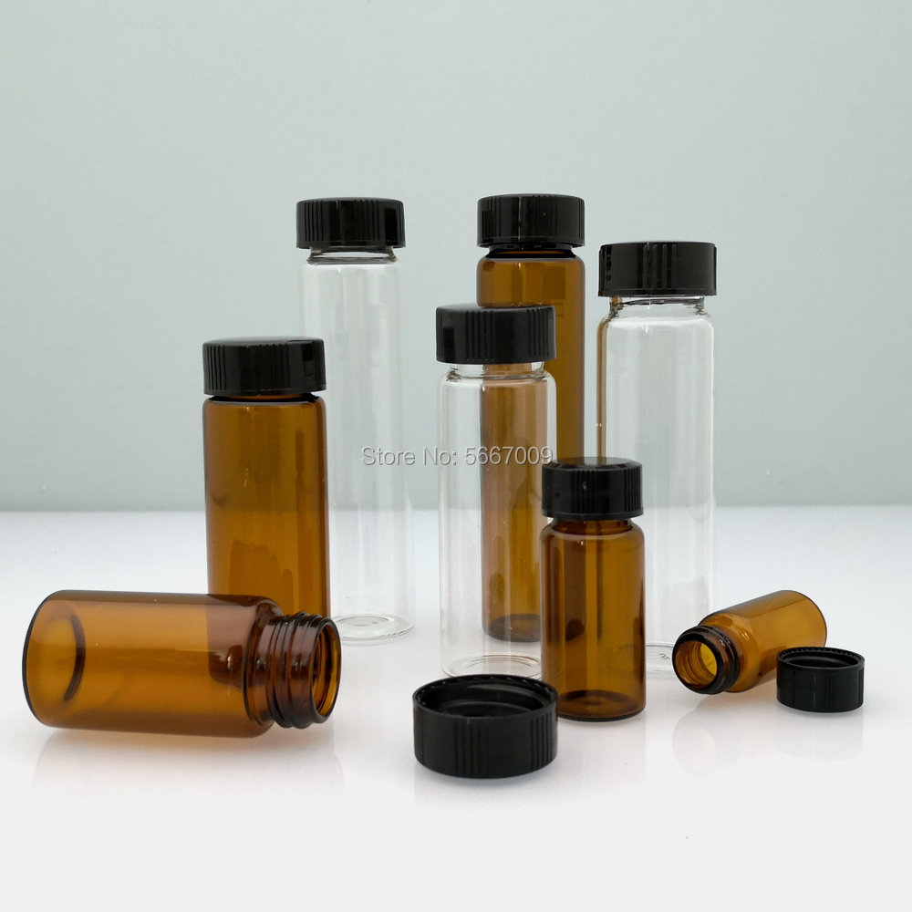 10pcs/lot 3ml 5ml 10ml 15ml 20ml 30ml 40ml 50ml (Clear/ brown) Glass Seal Bottle Reagent Sample Vials With Plastic Lid Screw Cap 100pcs 3ml 5ml 10ml 15ml 20ml 30ml 50ml pe plastic dropper bottle empty e liquid squeeze bottle with childproof cap and fine tip