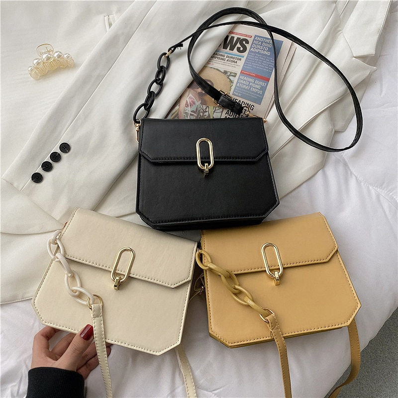 Fashion Woman Retro Shoulder Bag PU Leather Youth Ladies Small Square Bag Simple Female Solid Color Daily Messenger Bag aa women fashionable solid color portable crossboby bag pu leather casual style small shoulder bag for ladies daily shopping bag