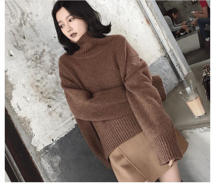 Autumn Winter New Sweater Women High-Necked Pullover Loose Thick Sweater Casual Long Sleeve Knit Shirt hdy haoduoyi 2018 new arrival beige knit half necked openwork loose pullover sweater autumn winter
