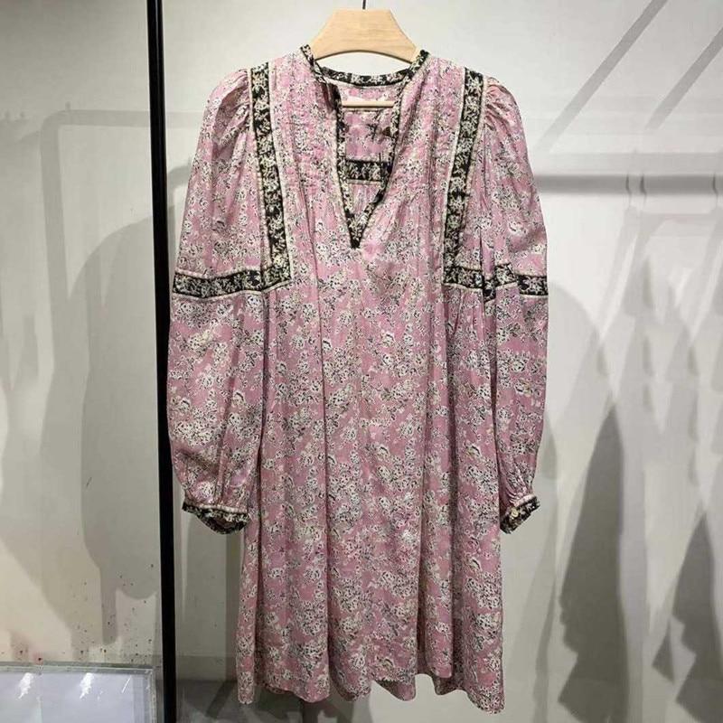 Primavera verão feminino duas peças vestido com decote em v solto flor impressão lanterna manga senhora mini vestido