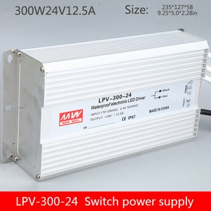LPV-300W12V24V36V48V waterproof switching power supply 300Wac to dc output 24v12.5A transformer outdoor light with lighting