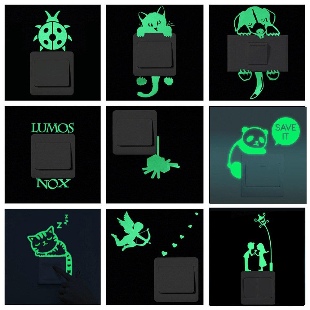 Verde fluorescente interruptor adesivo brilho luminoso no escuro adesivo de parede decalque removível vinil arte mural crianças quarto decoração da sua casa