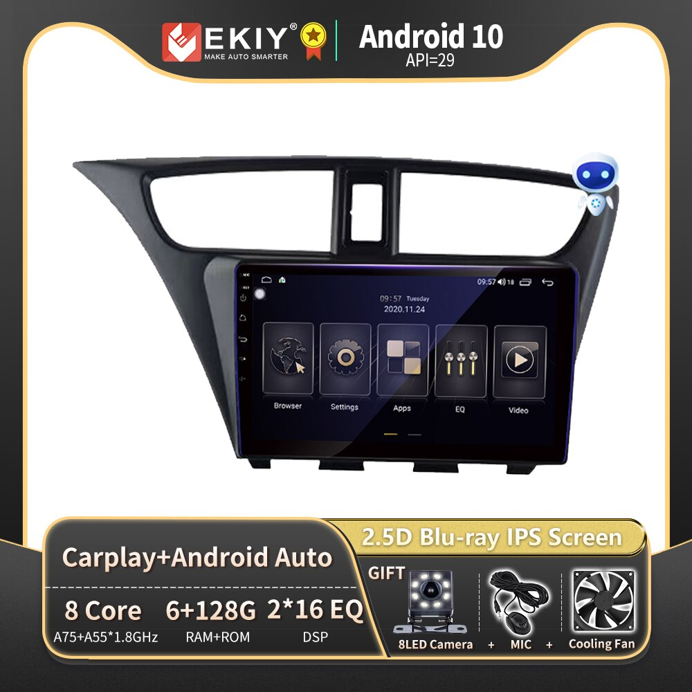 EKIY بلو راي IPS DSP 6 + 128G لهوندا سيفيك هاتشباك 2012-2017 أندرويد 10 راديو السيارة مشغل الوسائط المتعددة الملاحة لتحديد المواقع ستيريو 2din