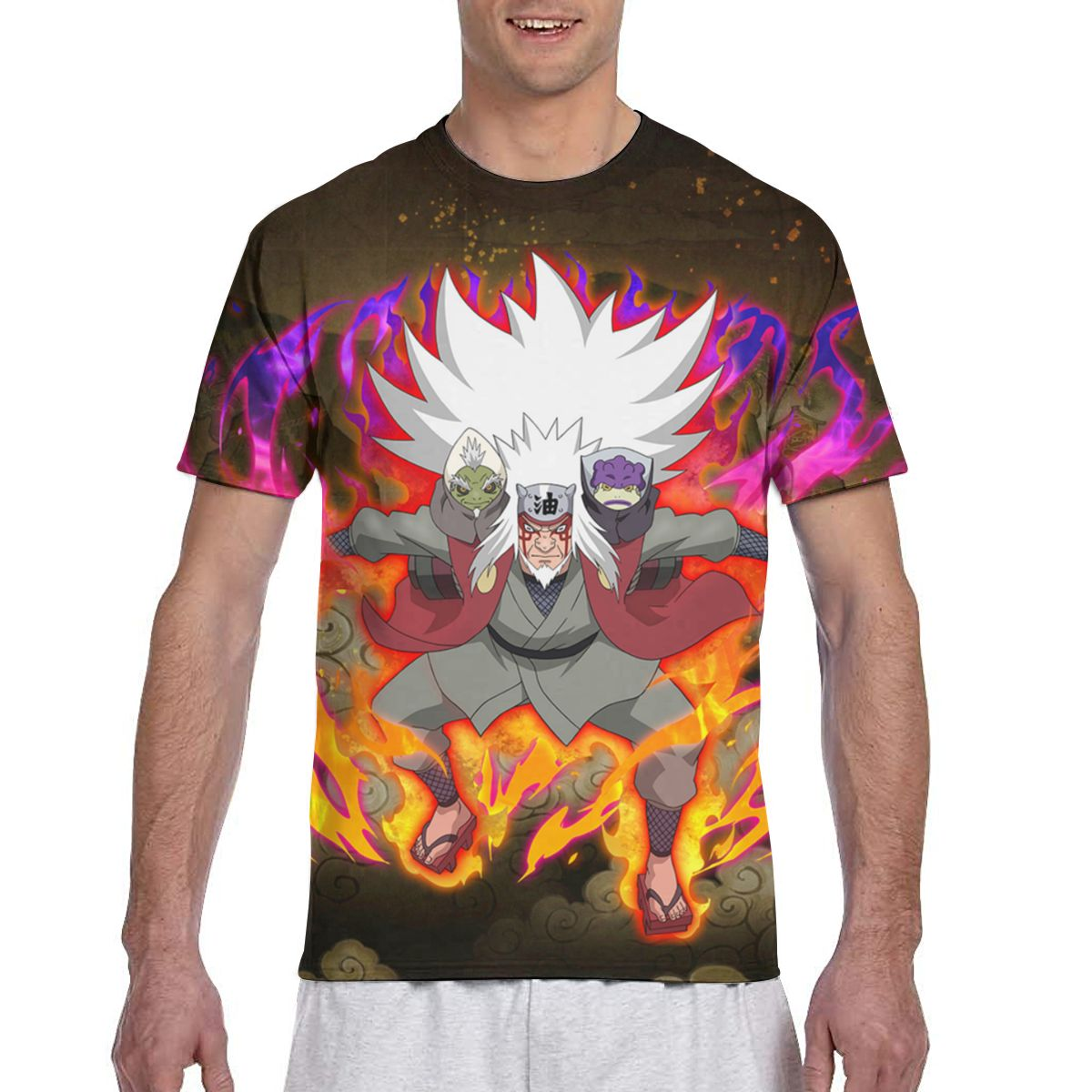Jiraiya personalizado Anime japonés Naruto imprimir imagen de dibujos animados paiting hombres camiseta