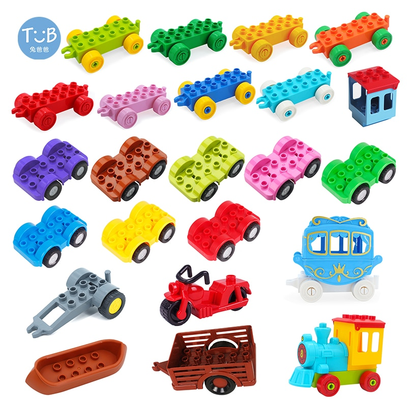 Big Building Blocks Traffic Vehicle Train Car Bottom Motorcycle Carriage Trailer Boat Bricks Accesso